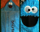 Cookie Monster Hooded Towel with Personalization