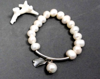 Pearl Bracelet, White, Elastic,  Silver Tube and  Electroform  Leaf Charm, For Any outfit, Bridal, Wedding