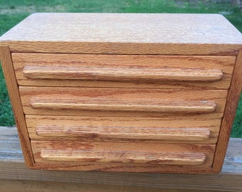 Exquisite Vintage Wood Jewelry Box from the 1970's.  Four drawers, 3 of which are Compartmentalized