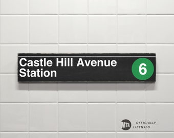 Castle Hill Avenue Station - New York City Subway Sign - Wood Sign