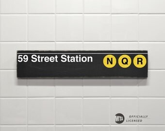59 Street Station - New York City Subway Sign - Wood Sign