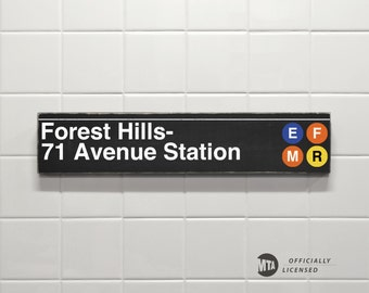 Forest Hills- 71 Avenue Station - New York City Subway Sign - Wood Sign
