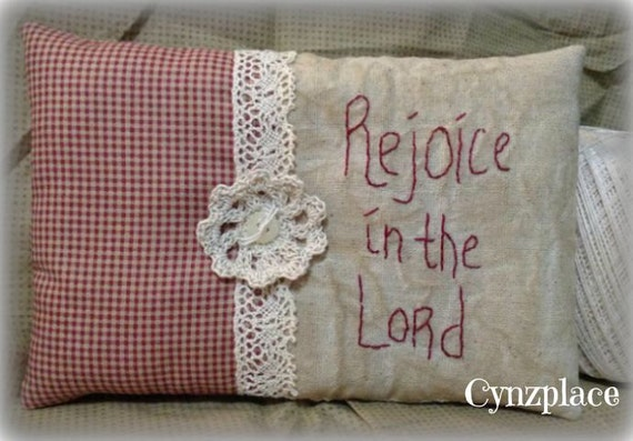 Rejoice In The Lord Redwork Stitchery Pillow