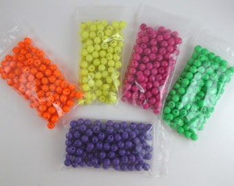 Plastic Beads Happy Face Beads Orange Yellow Pink Green Purple Plastic Beads Bows Halloween Costumes Craft Jewelry Beading Destash Supply