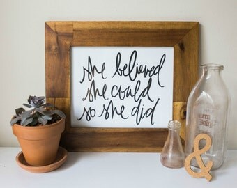 Typography Inspirational Print: she believed she could so she did