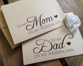 To my MOM or DAD or In Law or Step Parent on my wedding day - Special THANKS - Notecard - Recycled - Eco Friendly