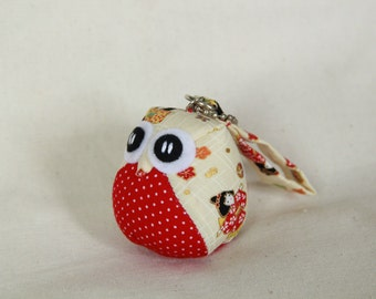 Miki - the Little Owl Doll with Bag: plush, keychain, children, kid, baby, cute, kid, boy, kawaii, red, dots, japan, japanese fabric, iammie