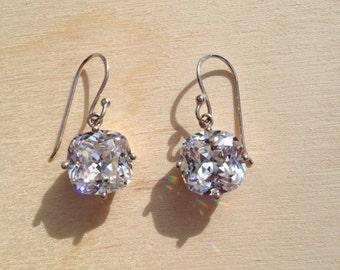 Cubic Zirconia Dangle Earrings, Square Cubic Zirconia Drop Earrings, Bridal Earrings, CZ Dangle Earrings, sterling silver cz earrings, gifts