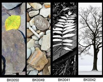 Natural Photography bookmarks - Rocks, trees and leaves - set of four your choice
