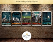 Harry Potter Fan Travel Posters SET of FIVE Vintage Movie Poster Print Wall Art Christmas House Warming Gift Children Room decor Geek