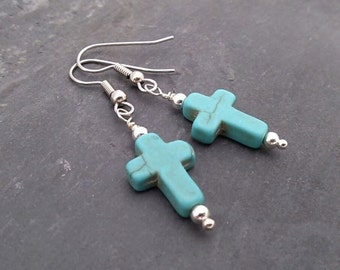 Carved Turquoise CROSS earrings, silver plated setting