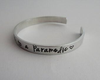 """Paramedic's Wife Hand Stamped Bracelet """"My heart belongs to a paramedic"""" - Hand Stamped Paramedic's Girlfriend Bracelet"""
