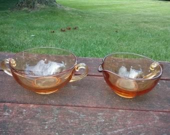 Vintage Amber Sugar and Creamer Amber Cambridge Sugar and Creamer