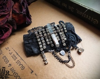Vintage Assemblage Brooch with Rhinestones, Chlorite Crystal, Black Lace & More