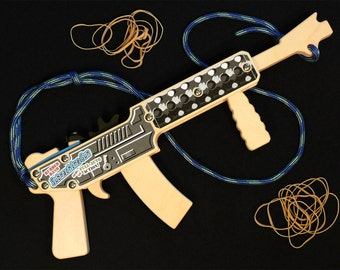 """Rubber Band Gun / Full-Auto Rubber Band Submachine Gun / """"Shorty"""" - no stock / Large Toy Pistol / Classic Wood Toy / Handmade in Alaska, USA"""