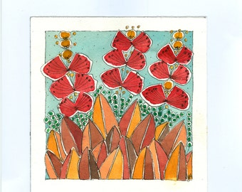 Summer Flowers , Fall Colors ,Red Flowers ,   Watercolor And Ink Mixed Media Original