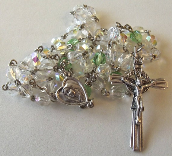 Birthstone/August Peridot and Clear Crystal Rosary