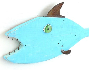 Tuna with a 'tude #5, Garden art fish, textured reclaimed wood and recycled metal, bluefish, folk art, whimsical fish