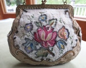 French Beaded and Tambour Embroidered Evening Purse with Mirror