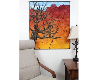 Quilted Wall Hanging, Dyed Fabric Fiber Art Tree Quilt