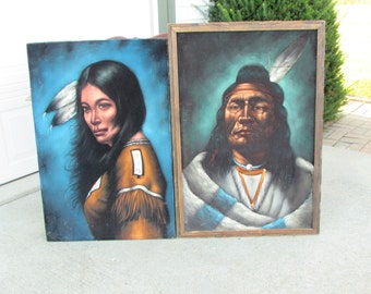 Pair of Large Original Native American Indian Oil Paintings 1970s