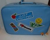 Vintage Child's Suitcase I love Grama Grandma Blue Luggage Hardcase vinyl travel