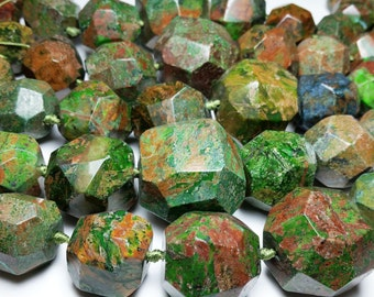 Green Brown Boulder Opal Turquoise Colored Round Faceted Graduating Beads 10mm - 33mm