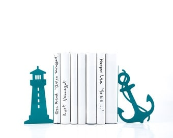 Metal Bookends Light house and anchor / sea theme nursery // beach house // modern home decor // housewarming gift //FREE SHIPPING WORLDWIDE