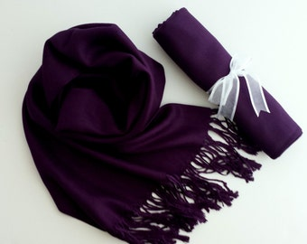 EGGPLANT (Dark Purple) Pashminas. Bridesmaid Dark purple Shawl. Pashmina Scarf. Wedding Favor