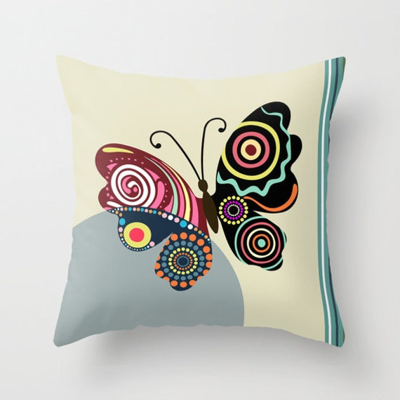 Butterfly Pillow, Insect Pillow, Cute Throw Pillows, Designer Throw Pillows, Decorative Throw Pillows, Unique Throw Pillows