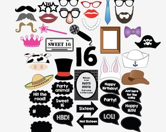 16th birthday photo booth props PRINTABLE sweet 16 party photobooth sixteenth