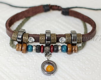 762 Women's brown leather bracelet Beads bracelet Charm bracelet Rings bracelet Cotton ropes bracelet Fashion jewelry For women and girls