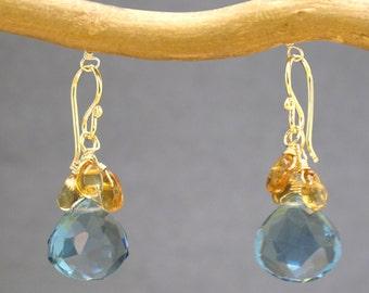 Mandarin garnet and blue quartz earrings Victorian 283
