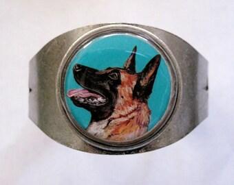 Malinois original art cuff bracelet