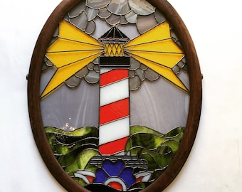 Stormy Seas Lighthouse Stained Glass Panel
