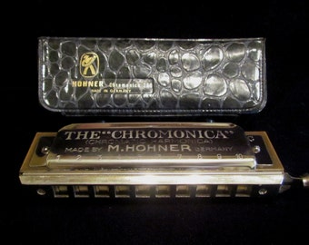 Vintage M. Hohner Chromonica Chromatic Harmonica Model 260 Key of C 1960 Made in Germany with Original Case Excellent Condition