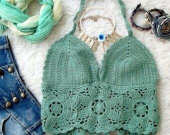 Crochet Floral Halter Top in Aqua Blue
