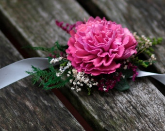 Pink Sola Carnation Wrist Corsage Weddings Mothers Corsage Natural Sola Corsage Ready to Ship