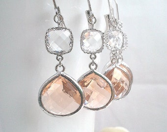 Peach earrings, Clear Wedding Earrings,Champagne Drop Earrings, Peach Pink Dangle, Glass Earrings, bridesmaid gifts,Gift for her