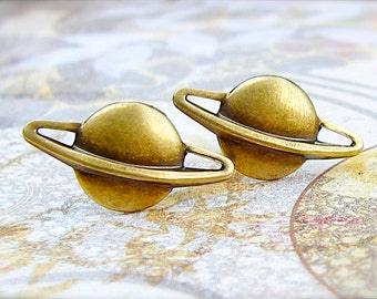 Saturn - antique brass post earrings