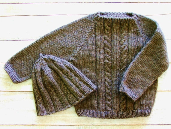 Toddler Boy Clothes Baby Boys Wool Sweater Hat Brown