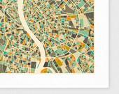 BUDAPEST Map, Giclee Fine Art Print, Modern Wall Art for the Home Decor