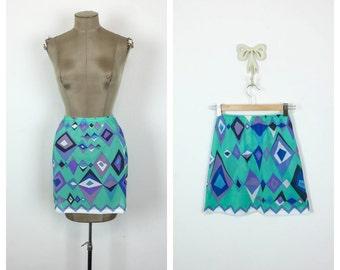60s Emilio Pucci Half Slip • 1960s Psychedelic Print Pucci Slip Skirt • Formfit Rogers Lingerie • Teal • Blue • Purple  • Medium