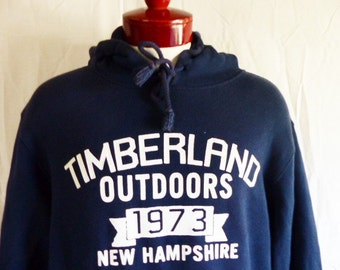 vintage 90's Timberland Outdoors 1973 New Hampshire navy blue fleece white spellout logo hoodie graphic sweatshirt  pullover jumper large