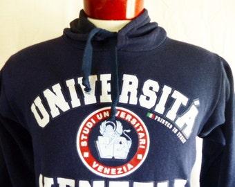 vintage 80's 90's Universita Venezia University Venice navy blue fleece white puffy print crest graphic hoodie sweatshirt pullover jumper SM