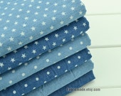 "Pre Washed Denim Cotton Fabric/ Summer Light Weight Denim Fabric/ Blue Dots Stars Cotton Fabric/ Blue fabric- 1/2 yard 18""X55"""
