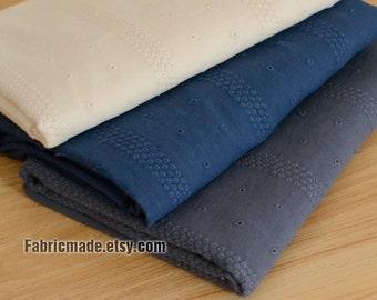 Light Beige Blue Embroidery Fabric, Embroidery Cotton Fabric, jacquard Stripe Cotton Fabric - 1/2 yard