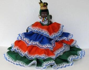 Vintage Topsy Turvey Doll,  Brown Black Doll, Flip Doll, Carmen Miranda Doll, girls room, gift idea