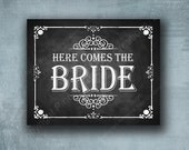 Printed Wedding Isle Sign - Here comes the bride -chalkboard style -  great photo prop - Professionally Printed - Rustic Rose Design
