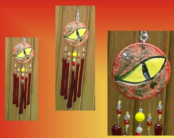 Red Dragon Glass Wind Chime Ceramic Garden Decor Stained Glass Window Suncatcher Hanging Mobile Pottery Fantasy Art